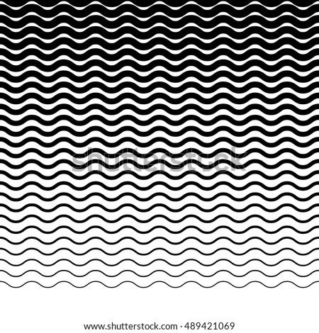 Parallel wavy-zigzag horizontal lines - Horizontally repeatable geometric pattern Foto d'archivio ©
