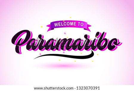 Paramaribo Welcome to Creative Text Handwritten Font with Purple Pink Colors Design Vector Illustration. #1323070391