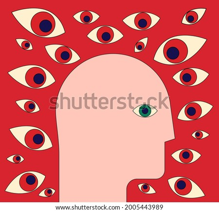 Paranoia or surveillance or panic attack concept with human head profile silhouette surrounded by many eyes on red background. Vector illustration Foto stock ©