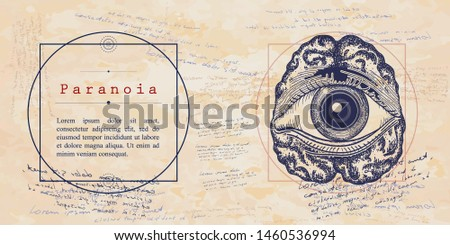 Paranoia. Psychological vector illustration. Brain and all seeing eye. Psychotherapy and psychiatry. Medieval medicine manuscript Foto stock ©