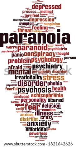 Paranoia word cloud concept. Collage made of words about paranoia. Vector illustration Foto stock ©