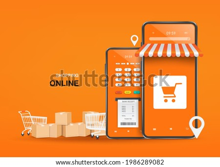 Parcel boxes, shopping carts, and credit card readers are placed next to shops on smartphones and all object on orange background,vector 3d isolated for shopping online and delivery concept design