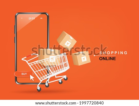 Parcel boxes, shopping carts, and smartphones were floating above the ground and all object on orange background for shopping online concept design,vector 3d for advertising design