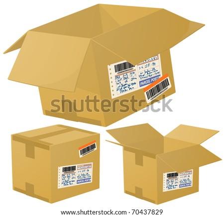 Parcel boxes. Vector.