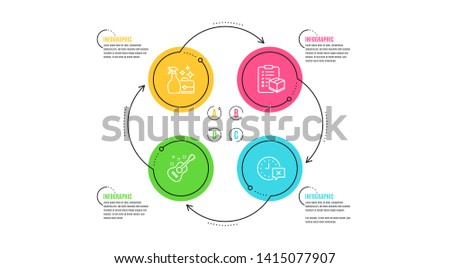Parcel checklist, Cleanser spray and Guitar icons simple set. Infographic timeline. Time sign. Logistics check, Washing liquid, Acoustic instrument. Remove alarm. Business set. Vector