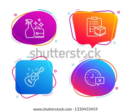 Parcel checklist, Cleanser spray and Guitar icons simple set. Time sign. Logistics check, Washing liquid, Acoustic instrument. Remove alarm. Business set. Speech bubble parcel checklist icon. Vector