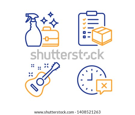 Parcel checklist, Cleanser spray and Guitar icons simple set. Time sign. Logistics check, Washing liquid, Acoustic instrument. Remove alarm. Business set. Linear parcel checklist icon. Vector