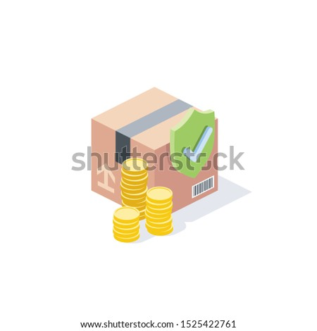 Parcel cost, security, sending, checkmark. Vector 3d isometric, color web icon, new flat style. Creative illustration design, idea for infographics. Stock foto ©