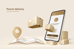 Parcel delivery. Concept for fast delivery service. Vector illustration