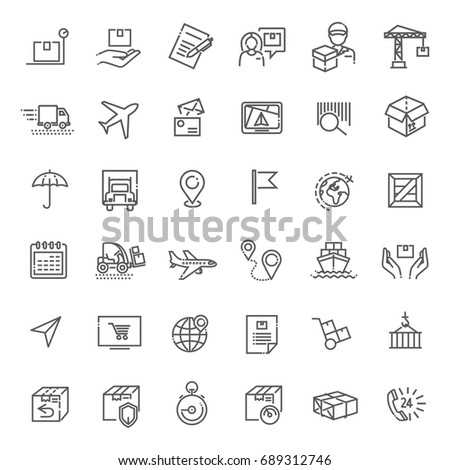 Parcel delivery service icon set