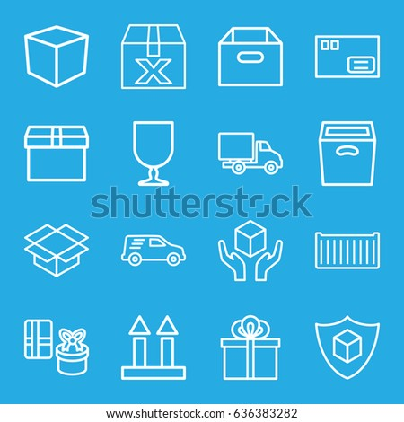 Parcel icons set. set of 16 parcel outline icons such as cargo box, cargo arrow up, handle with care, box, delivery car, gift, parcel #636383282
