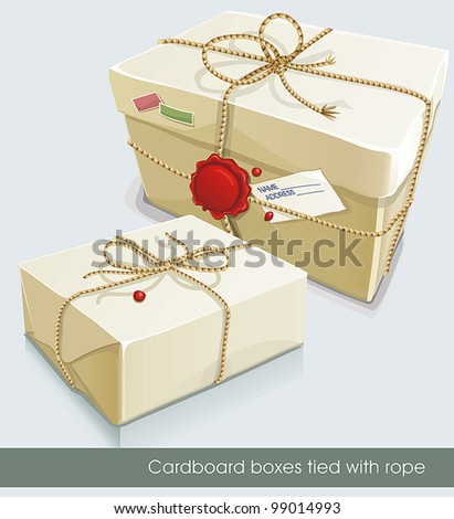 Parcel post wrapped with white paper and tied with twine. Vector illustration set.