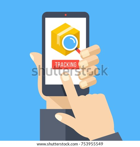 Parcel tracking. Hand holding smartphone with cardboard package, magnifying glass and tracking button on mobile phone screen. Finger touching button. Modern flat design concepts. Vector illustration