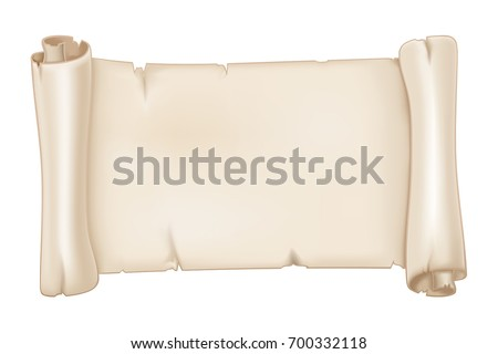 Parchment scroll. Vector 3d illustration isolated on white background