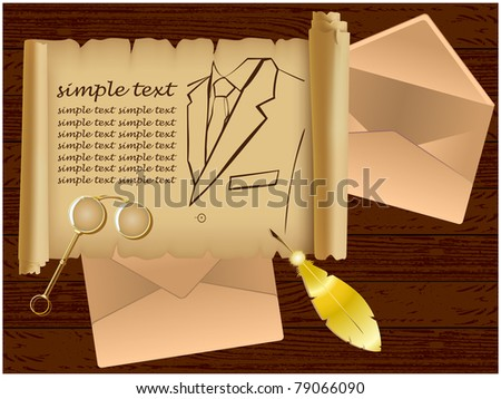 Parchment showing a man jacket, two envelopes, a gold pen and lorgnette lying on a wooden background