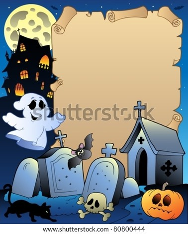 parchment with halloween topic