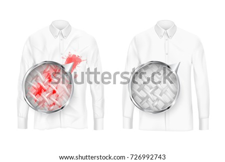 Shutterstock Pare of dirty and clean white shirts with magnifying glass showing fabrics fiber before and after washing or detergent use realistic vector isolated on white background. Clothing deep cleaning concept