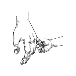 Parent and Child Holding Hand, Hand Drawn Illustration, Monochrome Isolated Vector