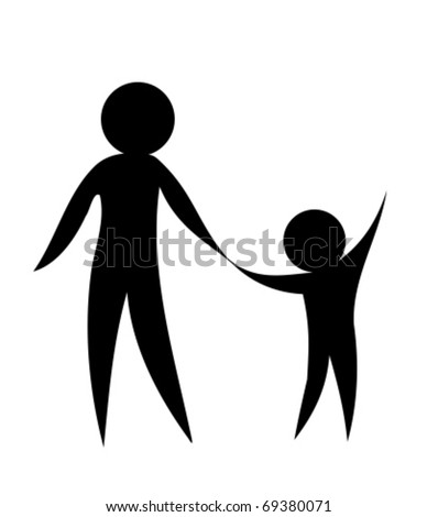 Parent and child holding hands together. Symbolic vector illustration