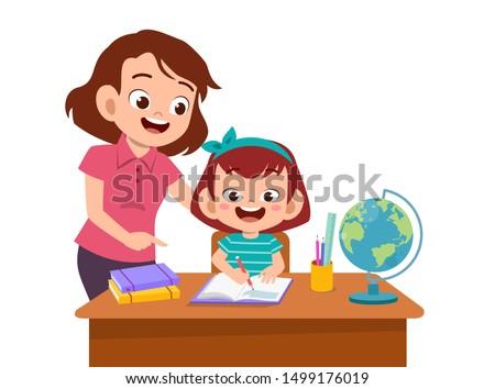 parent help teach kid illustration
