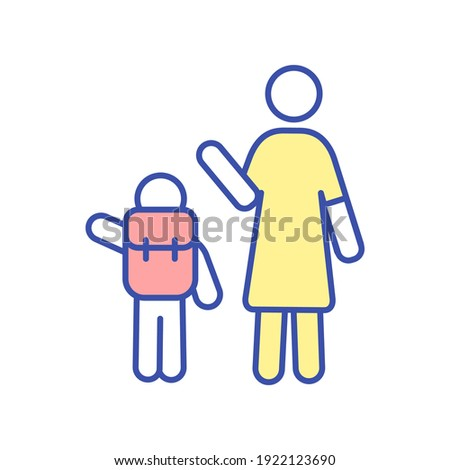 Parent seeing off child to school RGB color icon. Mother send kid with backpack to preschool. Woman waving goodbye tos son. Schoolboy go to classes. Happy family. Isolated vector illustration Stock photo ©
