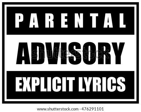 Shutterstock Parental Advisory Explicit Lyrics Label. Sticker Sign. Sample Black and White Vector Illustration.