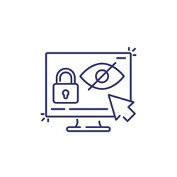 Parental control line icon with eye and lock