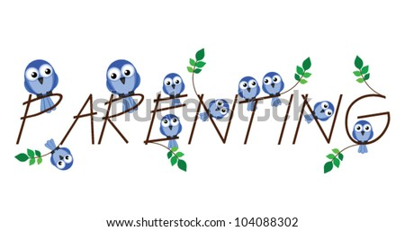 Parenting twig text isolated on white background