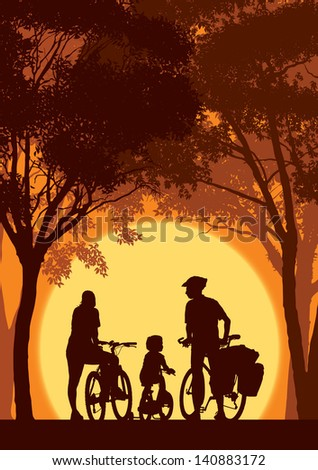 parents and child cycling on a