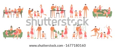 Parents and children at home. Family indoor activity, happy dad, mom and kids playing, cooking, dancing. Happy family vector illustration set. Parent and family activity at home