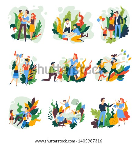 Parents and children family pastime isolated abstract icons vector father mother and kids playing and walking air balloons jumping on bed and pillow fight brother and sister son and daughter