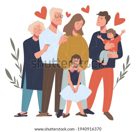 Parents and children, mom and dad with toddler and preschool girl. Man and woman with grandfather and grandmother. Family portrait and happy moments of parenthood and childhood. Vector in flat style Stock photo ©