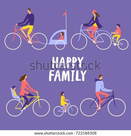parents and children riding a