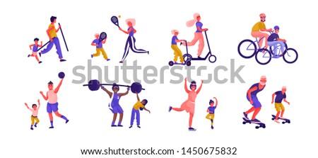 Parents and children sport activities. Cartoon active family characters playing games and spending time together. Vector illustration father, mother and kids sporting activities flat scenes