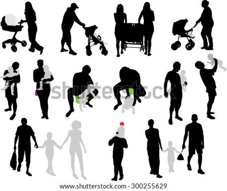 parents and children vector silhouette