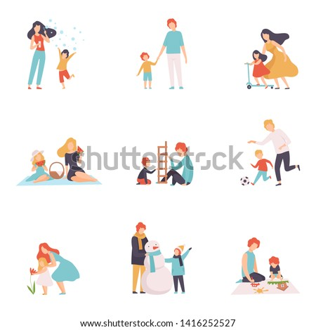 Parents and Their Children Spending Good Time Together Set, Happy Family Outdoor Activities Vector Illustration