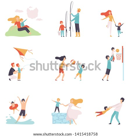 Parents and Their Children Spending Good Time Together Set, Happy Family Summer Outdoor Activities Vector Illustration