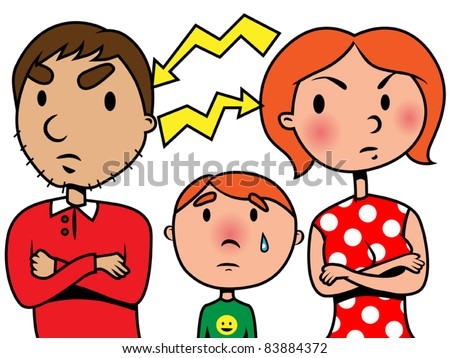Parents argue and child suffers, vector illustration