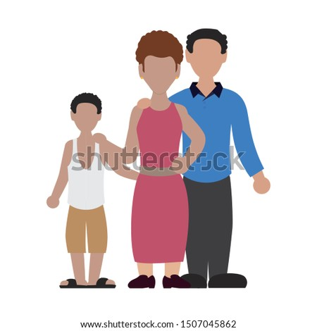 parents couple with son avatar character vector illustration