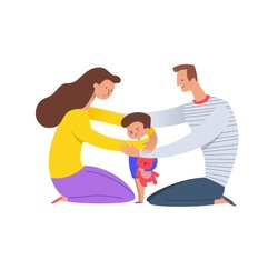 Parents hugging son. Mom and dad embracing their child holding teddy bear. Concept of loving family and happy parenting. Flat cartoon characters isolated on white background. Vector illustration.