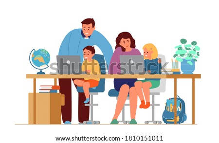 Parents Making Homework With Children In Front Of Laptops. Online Education Or Homeschooling Concept. Flat Vector Illustration. Isolated on White.