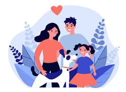 Parents presenting pet to their child flat vector abstract illustration. Happy family adopting dog. Little girl greeting new friend. Charity and animal adoption concept.