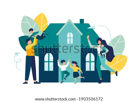 Parents rejoice with their children stand next to a new house, mortgage for a young family on real estate, investment in housing, vector illustration
