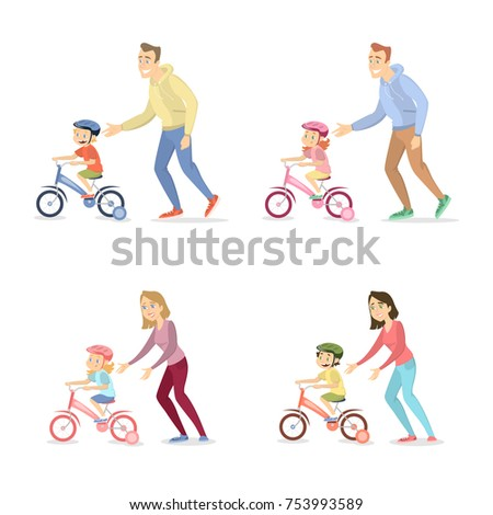 Parents teaching children to ride the bike set.