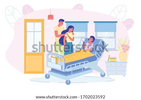 Parents Visiting Loving Daughter at Intensive Therapy Hospital Ward. Hospitalized Girl Lying in Bed. Pediatric Department in Clinic. Child Sickness and Hospitalization. Vector Illustration
