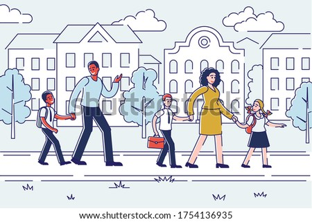 Parents walking kids to school over linear city building background. Mother, father and schoolchildren with schoolbags holding hand. Parenthood concept. Vector illustration