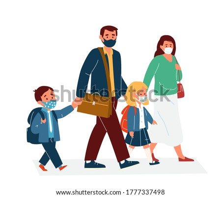 Parents With Children In Protective Masks Going To School. Back To School During Coronavirus Pandemic Concept. Primary School Pupils In Uniform. Flat Vector Illustration.