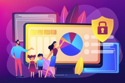 Parents with children using content control software. Parental control software, restricted access for children, media content limitations concept. Bright vibrant violet vector isolated illustration
