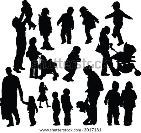 Parents with children vector silhouettes