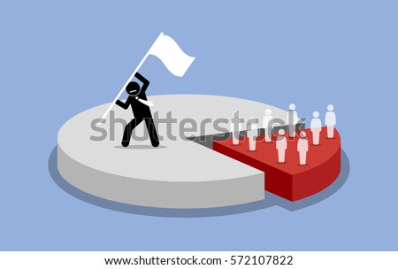 Pareto principle. 80 and 20 percent rules. Vector artwork depicts majority of the market share is captured and dominated by one person, while the minority share market is owned by many people.